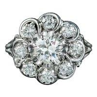 Art Deco French Diamond Cluster Ring 1.85ct Of Diamond Circa 1920
