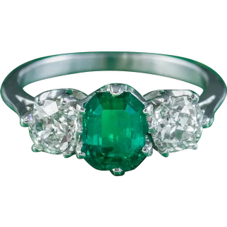 Antique Edwardian Emerald Diamond Ring 1.19ct Colombian Emerald With Cert