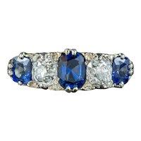 Antique Victorian Sapphire Diamond Ring 1.70ct Sapphire Circa 1900