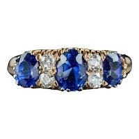 Antique Victorian Sapphire Diamond Ring 2ct Of Sapphire Circa 1900