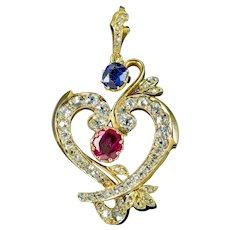 Vintage Diamond Ruby Sapphire Heart Pendant 18ct Gold