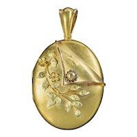 Antique Victorian 15ct Gold Floral Locket Circa 1880
