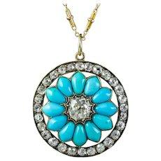 Antique Victorian Turquoise Diamond Pendant Necklace 3.5ct Of Diamond Circa 1900
