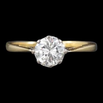 Antique Victorian Diamond Solitaire Engagement Ring 18ct Gold Circa 1900 Cert