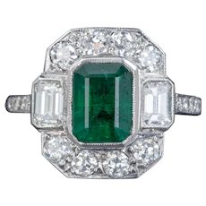 Emerald Diamond Ring 18ct White Gold 1.75ct Emerald Cert