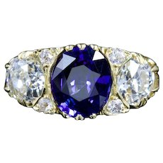 Antique Victorian Sapphire Diamond Ring 3.92ct Sapphire 18ct Circa 1880