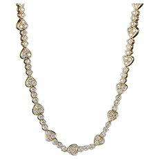 Vintage Diamond Heart Necklace 18ct Gold 10ct Of Diamond