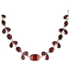 Antique Georgian 18ct Gold Flat Cut Garnet Riviere Necklace Circa 1790