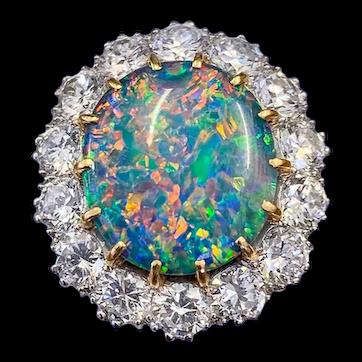 Vintage Black Opal Cluster Ring Platinum 5.75ct Opal Circa 1970