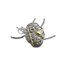 Studio Art PMC Silver & 22kt Applique Pendant / Brooch Combination - Hummingbird, Fuchsia and Bamboo