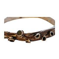 Fine Silver Palm Leaf and Aventurine Bangle Bracelet - Artisan - Custom Order