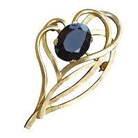 Vintage Brooks Brushed Gold-tone Brooch Smokey Glass Stone