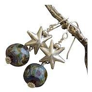 Lampwork Boro Art Glass Bead SS Star Earrings