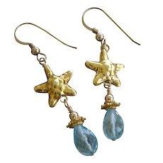 Aquamarine Gemstone & Starfish Earrings 22kt Gold Vermeil