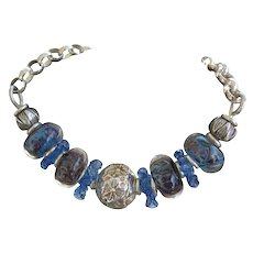 Sterling Silver, Blue Lampwork Beads, Ruffles bracket