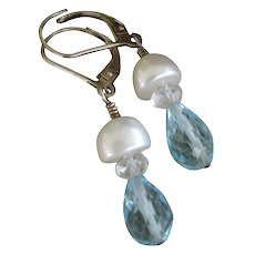 Aquamarine Cultured Pearl SS Earrings - Artisan Jewelry