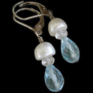 Aquamarine Cultured Pearl SS Earrings - Artisan Jewelry