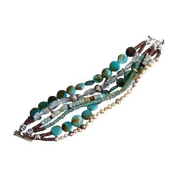 Gemstone Bracelet - turquoise, tiger's eye, aquamarine, aventurine, pearls, Peruvian opals, SS & Copper