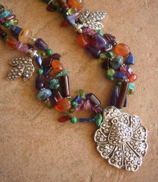 Gemstone beaded necklace with fine silver pendant charms for Eurasia jewelry miami fl