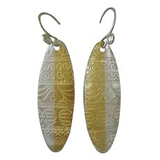 Fine Silver Shield Pendant Earrings with 24kt  Gold