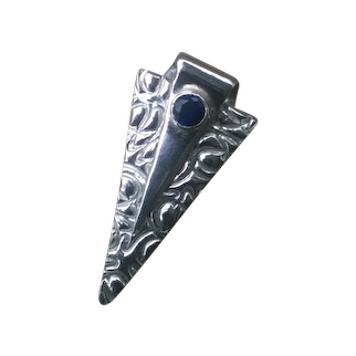 Fine Silver Triangular Pendant with Lab-created Sapphire PMC .999 Custom Order