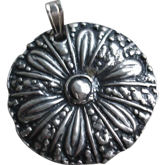 Handcrafted Fine Silver Button Medallion Pendant