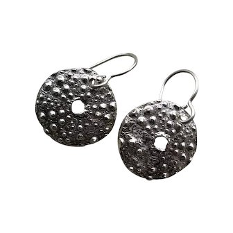 Fine Silver Sea Urchin Earrings - Handcrafted