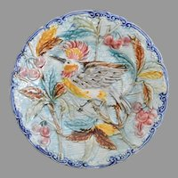 Victorian Majolica Bird Plate from Wasmuel Factory