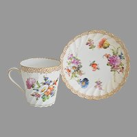 Hand Painted Antique Dresden Tea Coffee Cups Saucers