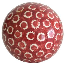 Antique Victorian Carpet Ball in Cranberry Sponged Decoration
