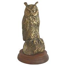 Vintage Cast Brass Owl Figure