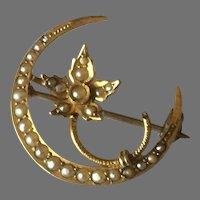 Art Nouveau Seed Pearl Moon Brooch in 14K Gold
