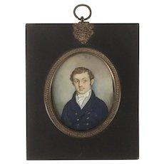 Georgian Miniature Portrait of a Young Gentleman