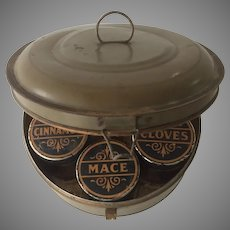 Toleware Spice Box Tin in Olive Green Paint
