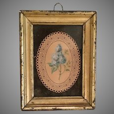 Antique French Watercolor in Lemon Gilt Frame