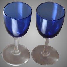 Antique Bristol Blue Wine Glasses