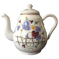 Antique French Enamel Teapot with Pansy Decoration