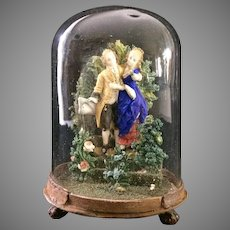 Glass Dome Diarma of 19th C Lovers