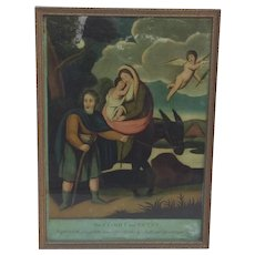 Antique Religious Painting of 'The Flight to Egypt' 1806