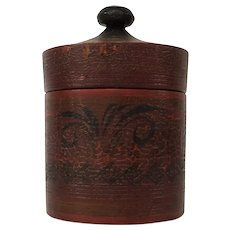 Antique Decorated Wooden Ware Canister