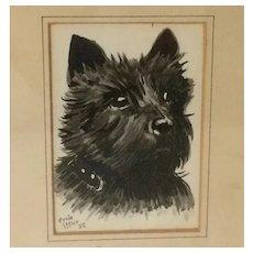 Scottie Dog Watercolor Portrait