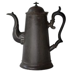 Antique Tole Tin Coffee Pot