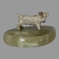 Cold Painted Bronze  Terrier Dog on Onyx Desk Tray