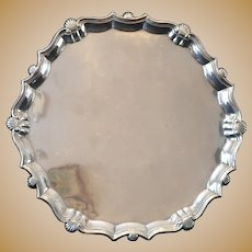 18th C Sterling Silver Salver Card Tray from 1747