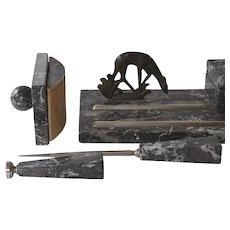 Deco Marble and Bronze Desk Set
