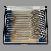 French Sterling Silver Dessert Forks by Perrin in Fitted Case