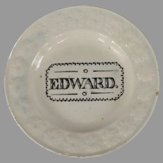 Antique Staffordshire Child's Plate Edward