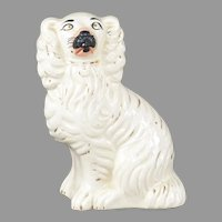 Antique Staffordshire Spaniel in White