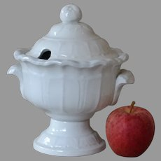 Antique White Ironstone Sauce Tureen by Meir