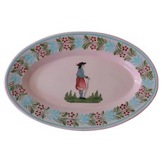 French Faience Quimper Platter in Pink by Henriot